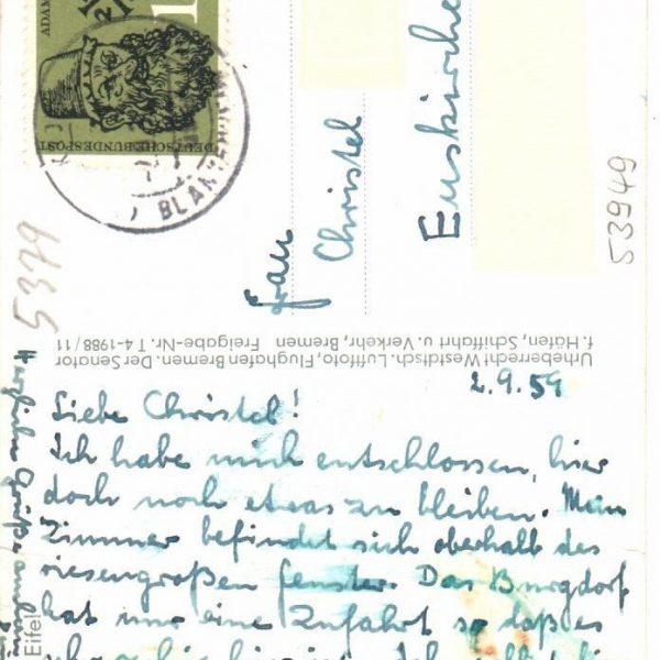 Historische Postkarte - Burghaus & Villa Kronenburg